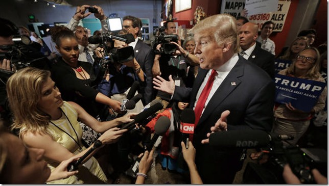 Trump Fake News meets Fake President GOP presidential candidate Donald Trump speaks with reporters August 29 2016 in Nashville TN Mark Humphrey AP via GLT 89 1 FM Illinois State