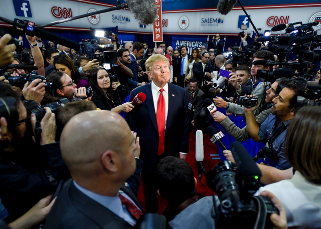 Trump Among the conventionally wise Then just a candidate Donald Trump speaks to reporters in after the Republican debate  Las Vegas. Photo by Riccardo Savi AP via Slate