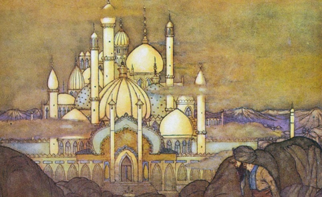 Painting Illustration Edmund Dulac detail Arabian Nights Sultans Palace Houston Symphony