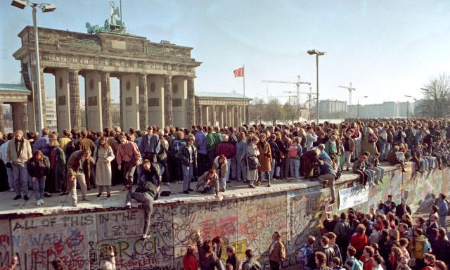 Berlin Wall Fall 1989 Alamy photo via the Guardian