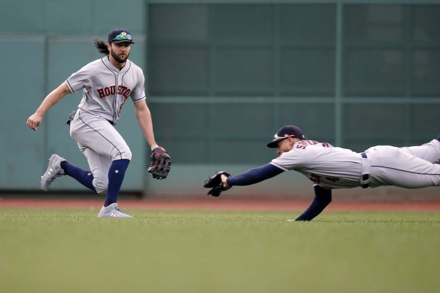 Baseball MLB AL Red Sox Astros RF George Springer making a diving catch at Fenway 09 08 18 Micheal Dwyer AP via Houston Chronicle