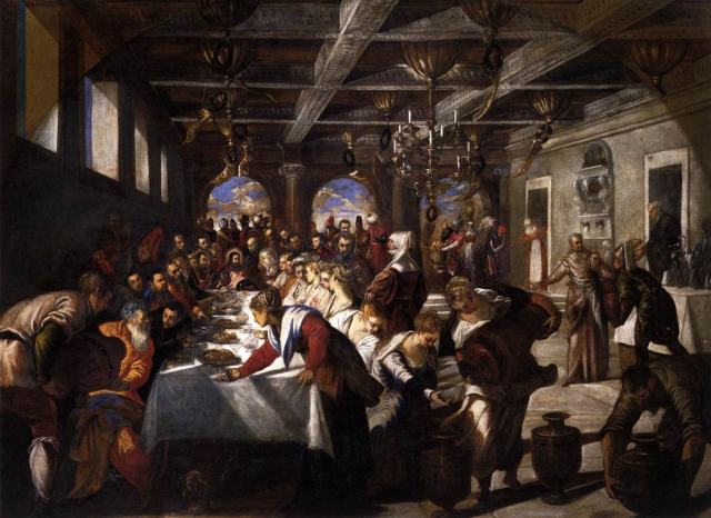Painting Bible Tintoretto Marriage at Cana Wikimedia