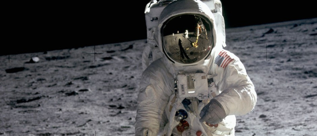 NASA Buzz Aldrin on the moon detail of photo via Wikipedia