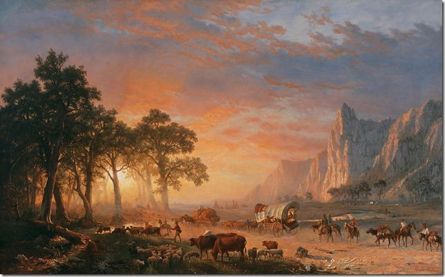 Painting Albert Bierstadt Emigrents Crossing the Plains or The Oregon Trail Wikimedia