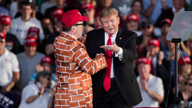 Trump Meeting the Border Wall Guy at a rally in Mountorusville PA May 20 2019