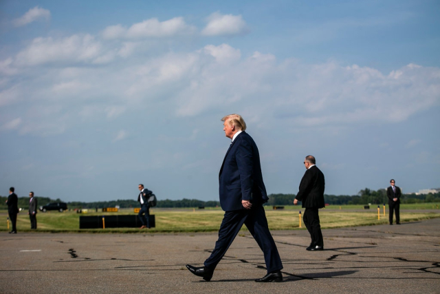 Trump Striding boldly away from another lie Trump on his way to board Marine One in Morristown NJ Friday July 19 2019 Al Drago NYT