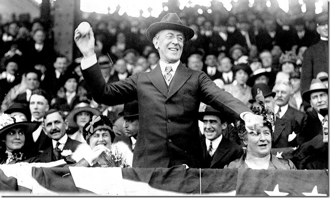 Presidents Wilson Woodrow Wilson Throwing out the first pitch Griffths Statdium April 20 1916 LOC via Wikipedia