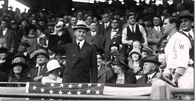 Presidents Coolidge Silent Cal looking less than thrilled to be throwing out the first pitch 1920 via White House Historical Association