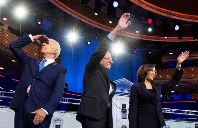 Biden The Futures back there somewhere Joe Biden Bernie Sander Kamala Harris Democratic debate June 2019 Jim Watson AFP Getty via Truth Out Vanity Fair NBC News