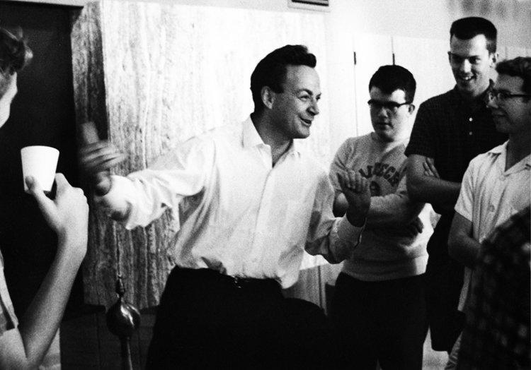 Feynman Richard Feynman with students at Caltech Winnette Center coffee hour june 1964 courtesy of Caltech Magazine