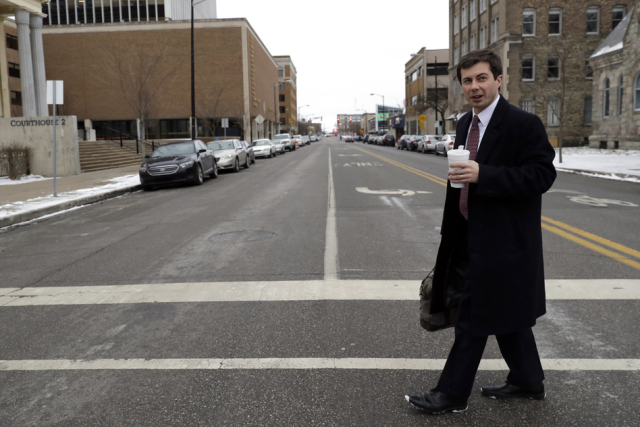 Buttigieg Mayor Pete on his way to work mayoring January 2019 AP Photo Nam Y. Huh via Seattle Times