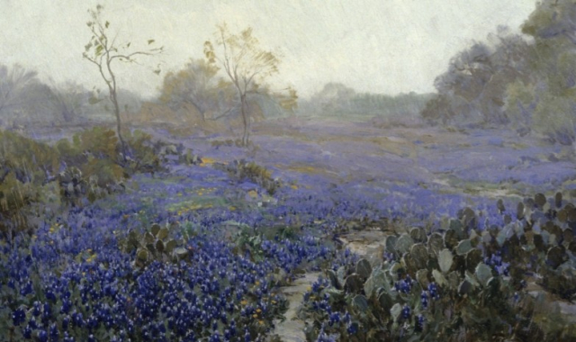 Painting Julian Onderdonk Blue Bonnets and Cactus in the Rain Detail Museum of Fine Arts Houston via San Antonio Mag