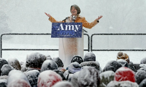 Klobuchar Democratic Sen Amy Klobuchar addresses a snowy rally where she announced she is entering the race for president Sunday Feb 10 2019 at Boom Island Park in Minneapolis Jim MoneAP