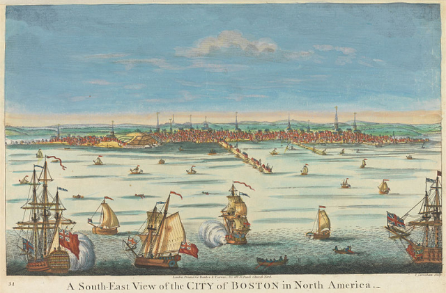 Franklin View of Boston from the South East circa 1723 Wikimedia Commons