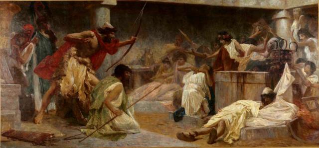 Painting Odyesseus and Telemachus Kill the Suitors Bela Cikos Sesija before 1931 via Wikipedia