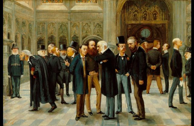 Painting Politics Lobby of the House of Commons Vanity Fair Liborio Prosperi 1886 NPG