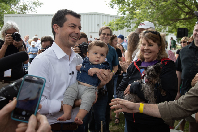 Buttigieg Shaking every hand kissing every baby in Iowa August 2019 via Petes FB Page