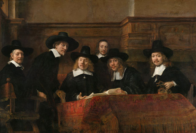 Painting Rembrandt The Syndics of the Amsterdam Drapers Guild  known as the Sampling Officials Rijksmuseum Amsterdam via Wikipedia