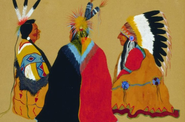 Painting Chief and Friends Monroe Tsatoke early 20th C Gilcrease Museum Tulsa - Edited
