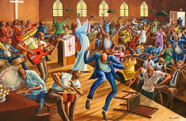 Painting Detail from Family Friendship Baptist Church by Ernie Barnes 1994 copyright Ernie Barnes Family Trust via Culture Type - Edited
