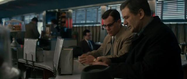 Movies and TV Good Shepherd Covert pie and coffee Damon and Baldwin