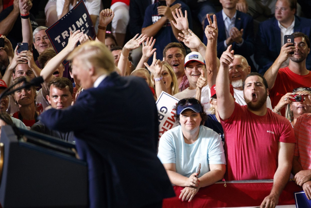 Trump Perfect Sympathy Supporters cheer as President Donald Trump speaks at a campaign rally at Williams Arena in Greenville NC July 17 2019.Carolyn Kaster AP via NBC News