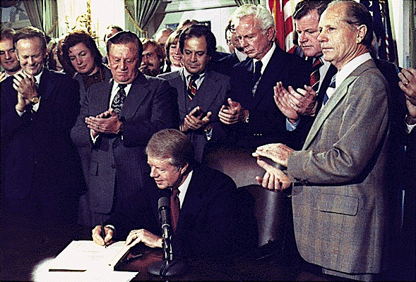 Carter Jimmy Carter signing the Airline Deregulation Act Oct 24 78 White House photo by Jack Kichtlinger Jimmy Carter Library Wikipedia