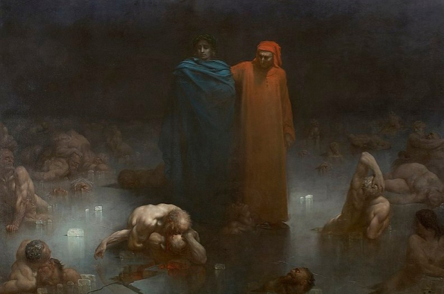Painting Dore Dante and Virgil in the Ninth Circle of Hell 1861 Musée de Brou via Wikipedia - Edited