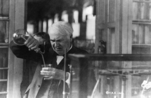 Scientists Edison in his lab circa 1921 Library of Congress via Wikimedia Commons