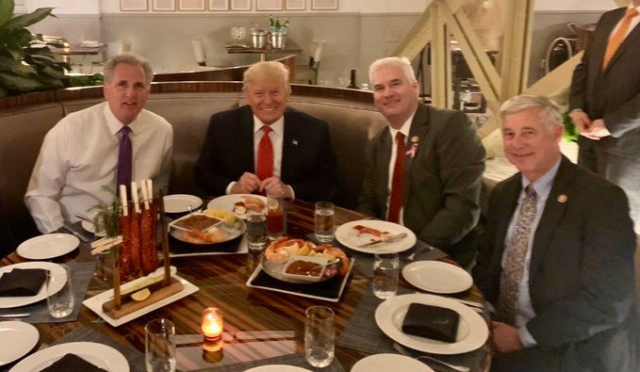 Trump Republicans united with Kevin McCarthy Fred Upton Tom Emmer 10 29 19 via McCarthy Twitter - Edited