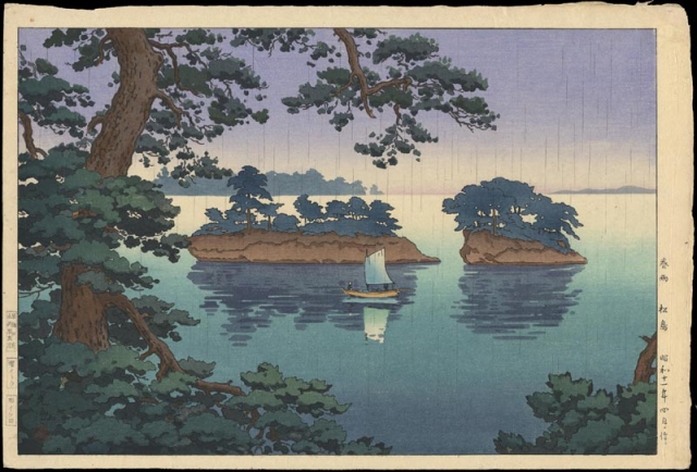 Painting Spring Rain Matsushima Tsuchiya Koitsu 1936 Ohmi Gallery Ross Walker
