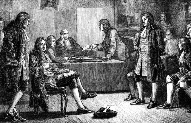 Illustration .Royal Society Crane Court off Fleet Street London meeting in progress Isaac Newton in the chair. Wood engraving by J. Quartley 1883