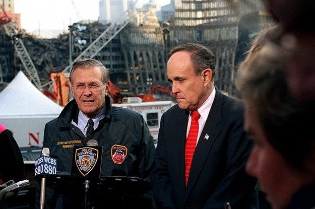 Giuliani Rudy and Rumsfeld at Ground Zero 2001 Dept of Defense photo by Robert Ward via Wikipedia