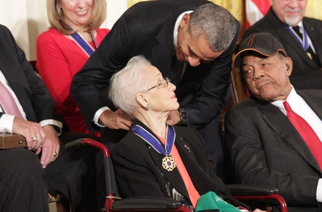 Movies and TV Hidden Figures Katherine Johnson receiving the Medal of Freedom 2015  Kelvin Suddason SHFWire- Edited
