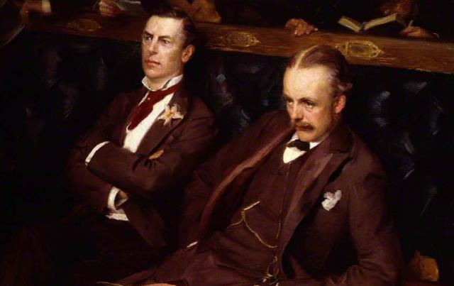 Painting Joe Chamberlain Lord Balfour Sydney Prior Hall National Portrait Gallery London via Art UK - Edited