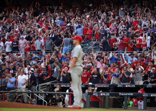 Baseball MLB NL 2019 NLDS Cards pitcher Jack Flaherty watching Braves PH Adam Duvalls HR fly out of the park 2019 10 04 David Carson ST