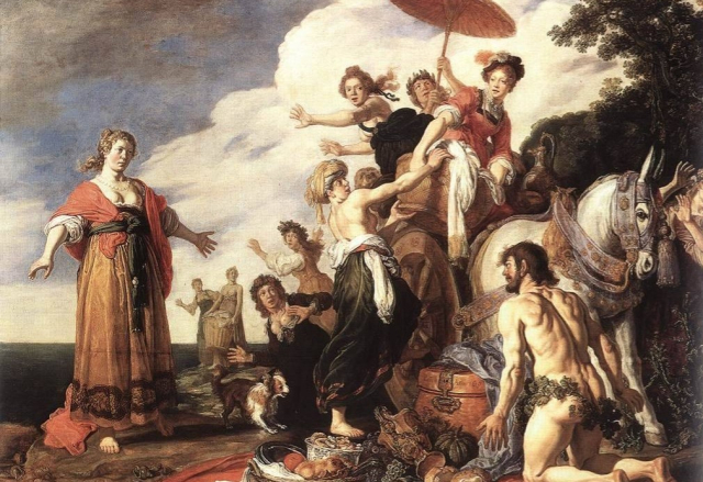 Painting Odysseus and Nausicca 1619 detail Pieter Lastman Alte Pinakothehek Munich via Wikipedia - Edited (1)