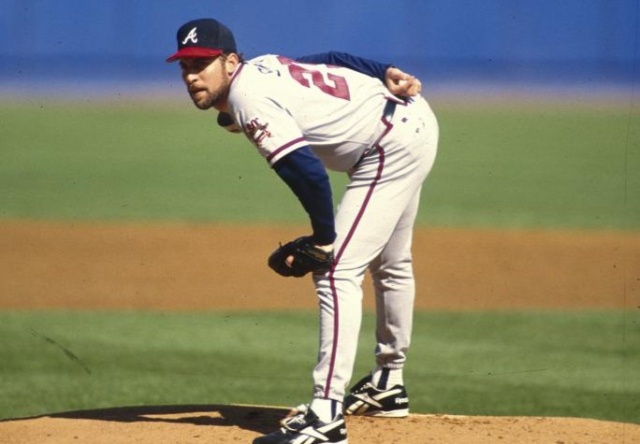 Baseball MLB NL Braves John Smoltz on the mound looking in for the sign HOF - Edited