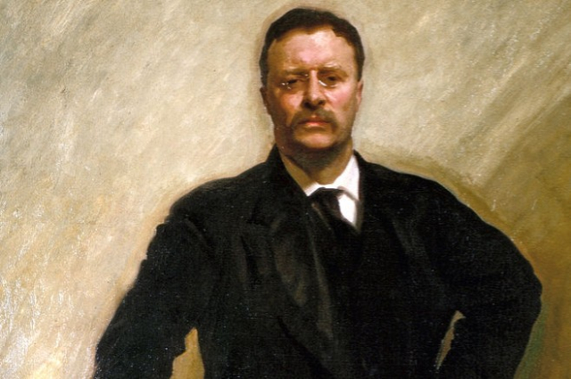 TR Now Detail from Portrait by John Singer Sargent 1903 The White House via Wikipedia