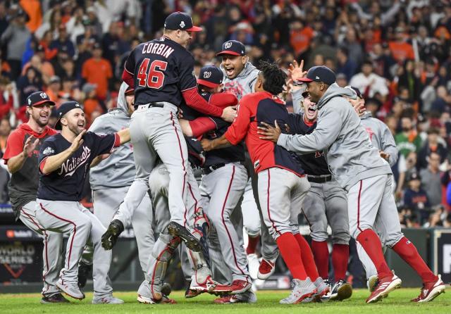 Baseball MLB WS 2019 Nats celebrate championship win 10 30 19 Washington Post photo by Jonathan Newton via Anchorage Daily News
