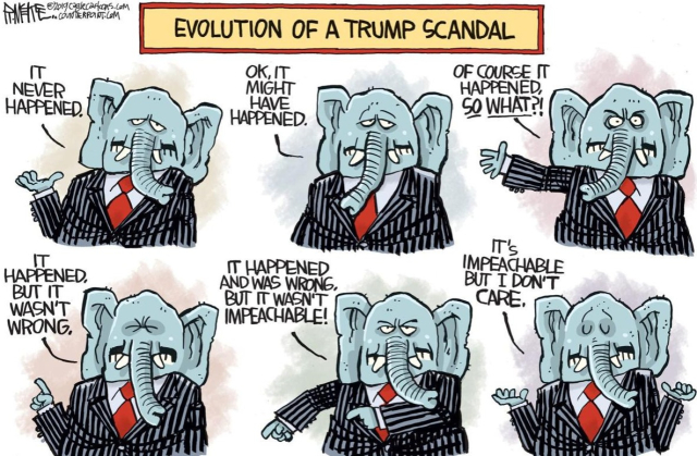 Cartoon Evolution of a Trump scandal Rick McKee WI State Journal 11 15 19