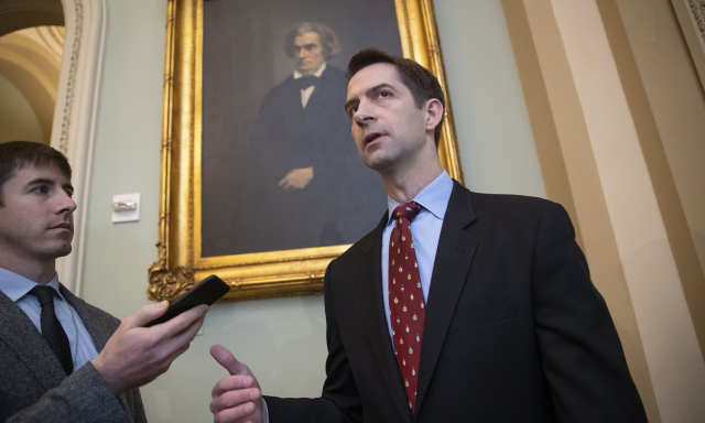 Politics Cotton Tom Cotton with John C Calhoun 11 27 18 J Scott Applewhite AP via MSNBC - Edited