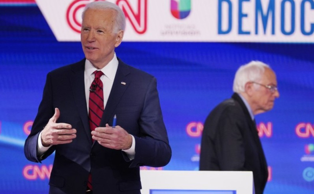 Politics Biden Joe front and center Bernie alone at the debate 3 15 20 Evan Vucci AP - Edited