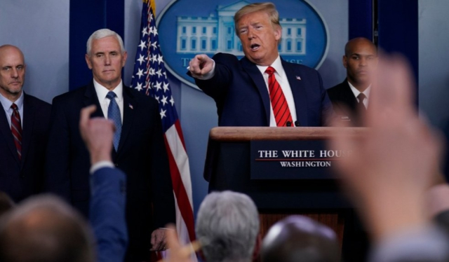Trump Showing off his old posture at press conference March 19 2020 Evan Vucci AP via digby - Edited