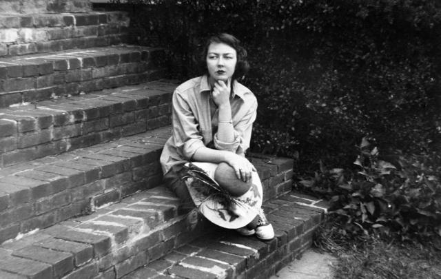 Writers and Poets Flannery O Connor on her front steps Midgeville GA  1959 Floyd Jillson AJC via AP via NYT - Edited
