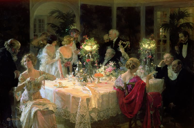 Painting End of Dinner Jules Alexandre Grun via Wikpedia