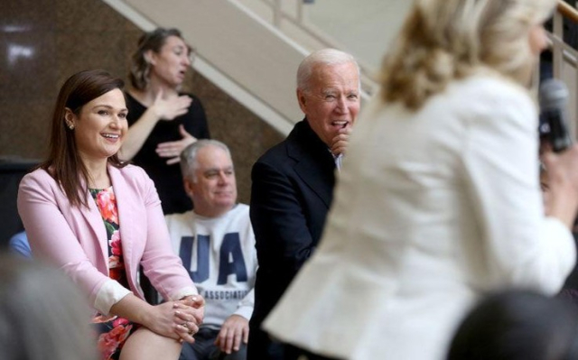 Biden Frankenhauer likes him Abby Joe Jill Dubuque 1 4 20 Photo by Jessica Reilly Telegraph Herald - Edited