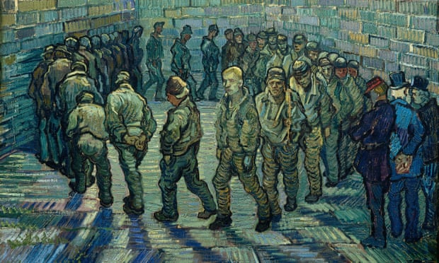 Painting Van Gogh Prisoners Round detail 1890  via the Guardian