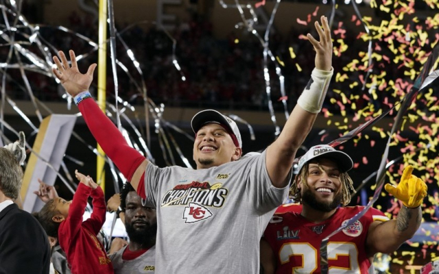 Football NFL Super Bowl LIV 2 2 2020 Mahomes leads Chiefs in celebrating win David J Phillips AP via LA Times - Edited