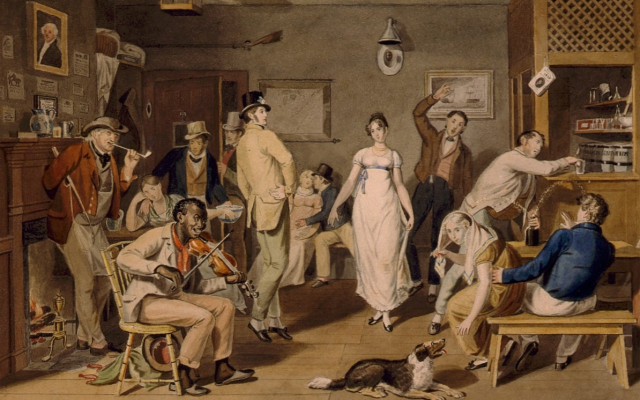 Paintings Barroom Dancing detail John Lewis Krimmell circa 1820 LOC via Wikipedia